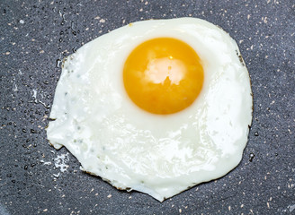 Aluminium Prints Egg Fried egg in the frying pan.