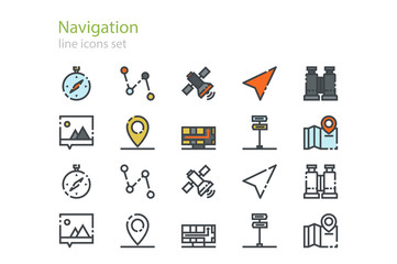 Navigation color and colorless icons. Line art. Stock vector.