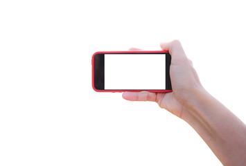 Smartphone in woman hand taking photo isolated on white