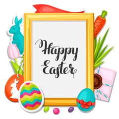 Happy Easter photo frame with decorative objects, eggs, bunnies stickers. Concept can be used for holiday invitations and posters
