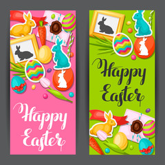 Happy Easter banners with decorative objects, eggs, bunnies stickers. Concept can be used for holiday invitations and posters