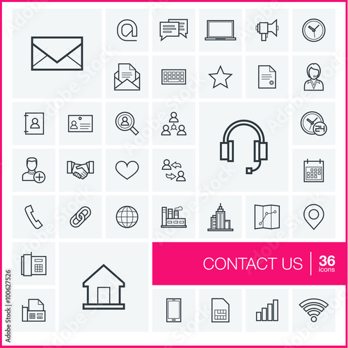 Vector Thin Line Icons Set And Graphic Design Elements Illustration