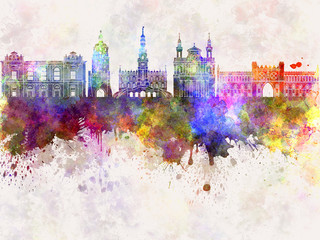 Wall Mural - Lublin skyline in watercolor background