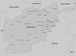 Karte von Afghanistan in Grau (detailliert)