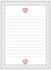 A page of notepad. Frame with heart pattern.