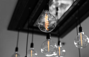 Set of antique light bulbs decor glowing light