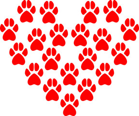 Vector illustration of animal paw prints that form the heart of