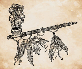 Traditional Indian smoking pipe of peace.
