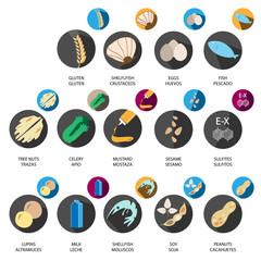 Allergen icons vector set