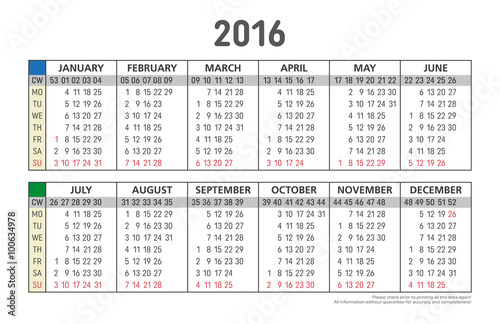 calendar 2016 with week numbers format for business card, mondays ...
