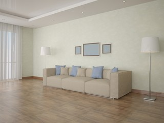 The spacious living room with a large sofa.