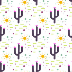 Purple and white cactus desert seamless pattern. Cacti and sun tribal boho background. Fabric print design. Succulent textile surface.