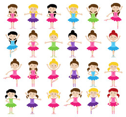 Ballet Themed Vector Collection with Diverse Girls