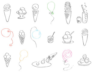 festive set of ice cream and balloons/set of vector illustration of various ice cream and balloons