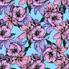 Hand drawn illustration. Delicate pink and purple flowers. Seamless pattern.