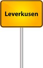 Deutsche Ortstafel mit Text Bezeichung Leverkusen Vektor Illustration