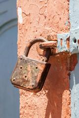 Old padlock and door