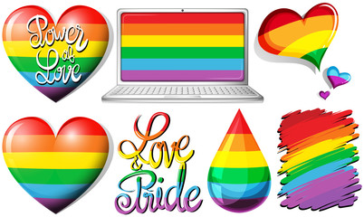 Love and pride with hearts and rainbow objects