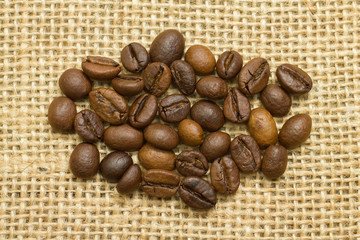 group coffee beans on  sackcloth