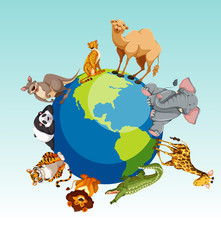 Wild animals around the earth