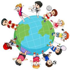 Children doing sports around the world