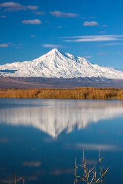 Mount of Ararat reflected in the lake
