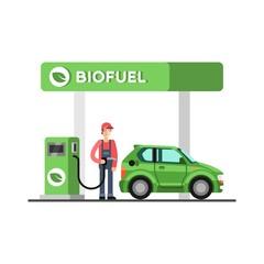 Biofuel. Eco fuel petrol station. Green energy. Save the earth, ecology, alternative energy. Vector illustration.
