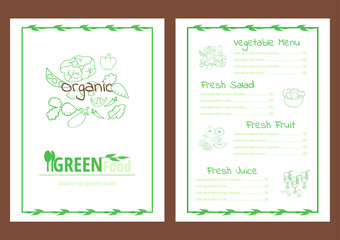 Healthy vegetable menu template green outlines on white backgrou