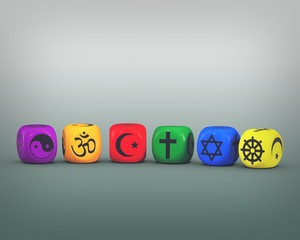 dices with religion symbols in LGBT colors