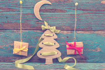 Christmas decorations with fir tree, balls and gifts