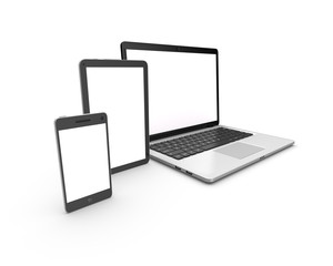 Modern laptop, tablet and smartphone isolated on white.
