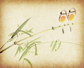 Traditional chinese painting Bamboo and two birds on old Paper B