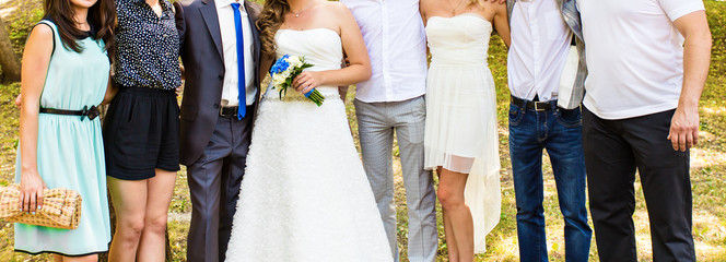 the bride and groom with their guests