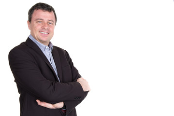 Portrait of a business man in front of white studio background
