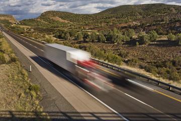 Blur of semi trailer truck