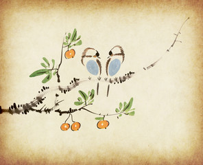 Traditional chinese painting loquat and two birds on old Paper B