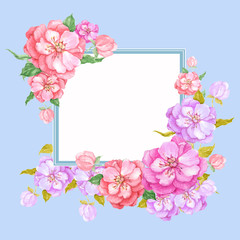 illustration watercolor composition frame with flowers