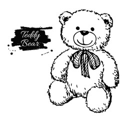 Vector hand drawn teddy bear illustration.