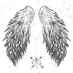 Grunge wings t-shirt graphics , vectors