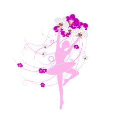 Tender ballerina holding an arrangement of orchid flowers with ribbons.