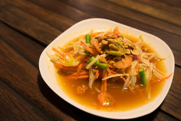 Somtum, papaya salad with shrimp, spicy Thai food dish