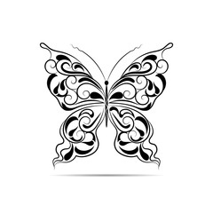 Vintage black pattern in a shape of a butterfly isolated on white background.