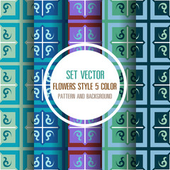 set vector floral 5 color pattern and background