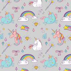 Magic hand drawn pattern - unicorn, rainbow and fairy wings