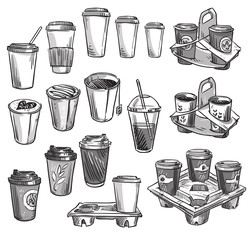 selection of coffee takeaway cups and carrier trays. Packaging.