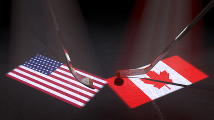 Hockey puck, hockey sticks and the image of the Unites States and Canadian flag on the ice.