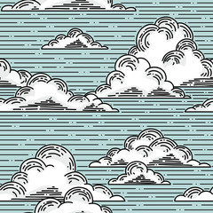 Clouds seamless pattern hand-drawn illustration.  Vector background