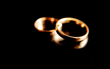 wedding rings on a black background