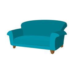 Fototapeta Blue sofa cartoon icon  obraz