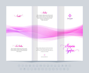 Business brochure, layout template with dynamic waves.